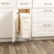 Kitchen 35 Qt. In Cabinet Single Pull Out Trash Can White Sliding Garbage Bin