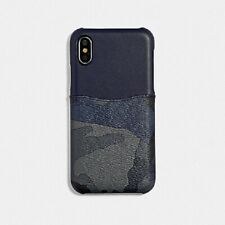 NWT COACH F77932 IPHONE X/XS CASE IN SIGNATURE CANVAS WITH BLUE CAMO PRINT