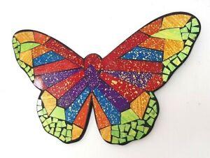 Mosaic/wood orange & purple Butterfly wall art decoration L40cm x W28cm-NEW