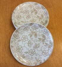 Signature Dessert Plates. Dot Floral. Set Of 4. Stoneware. New.