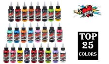 MOMS Tattoo Ink TOP Bright Color Set of 25 Bottles 1/2 oz 15 ml Authentic USA