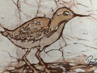 Sandpiper Beach Birds Woodcut On Silk Framed Original Signed Set of 2 Coastal