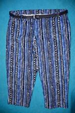 Striped Cotton Capris, Cropped Pants for Women