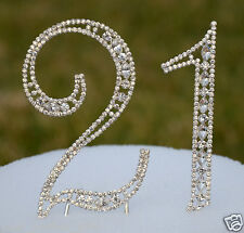 "5"" Rhinestone Silver Number Twenty One 21 Bling Cake Topper Birthday Anniversary"