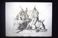 Incisione d'allegoria e satira Sicilia, Ferdinando di Borbone Don Pirlone 1851