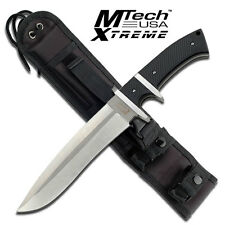 """NEW! Mtech Extreme 13"""" Silver Finger Guard Fixed Blade Knife w/ Molle Sheath"""