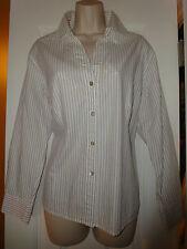 Chico's Chicos White Khaki Beige Metallic Silver Stripe Cotton Blouse  Sz 2  M L