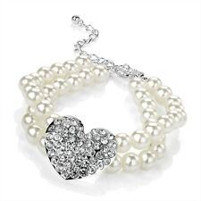 Pearl Bracelet Diamante Crystal Heart 2 Row Pearl Bead Bracelet Silver Colour