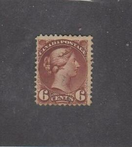 CANADA (MK7439) # 39 FVF-USED 6cts 1872 QV SMALL QUEEN / YELLOW BROWN CV $25