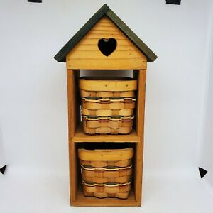 Hanging Wooden House Storage 2 Baskets Shelves Heart Cottagecore Home Wall Decor