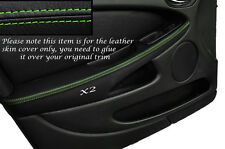GREEN STITCH 2X FRONT DOOR ARMREST SKIN COVERS FITS JAGUAR X TYPE 01-09