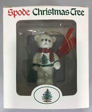 "Spode Christmas Tree Teddy Bear Wearing Sweater & Scarf Ornament 3"" NEW"