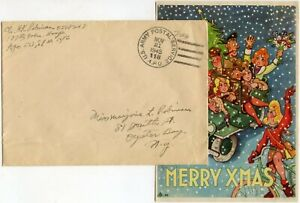 WW2 ILLUSTRATED CHRISTMAS GREETINGS CARD US ARMY APO in FRANCE CHALONS 1945