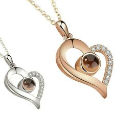 New Silver Rose Gold 100 Languages Light I Love You Projection Pendant Necklace