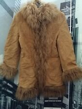 TRES JOLIE LEATHER TAN JACKET W/ MONGOLIAN CURLY LAMB FUR TRIM, LADIES SIZE S