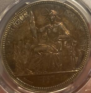 1887-A French Indo-China Piastre PCGS Genuine Cleaned—AU Detail Rainbow Tone!