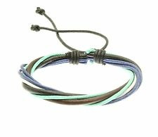 Leather and Cord Strap Bracelet Wristband Green and Blue Surf Surfer Adjustable
