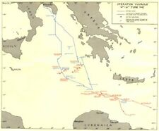 """MALTA. l'operazione """"VIGOROSO"""" 14th-16th GIUGNO 1942 1960 Vecchio Vintage Mappa Grafico"""