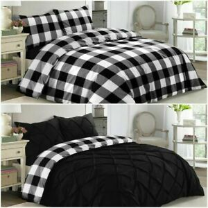 CHECK REVERSIBLE DUVET SET 100% POLY-COTTON QUILT COVER BEDDING SET IN ALL SIZES