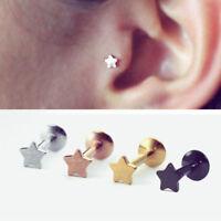 Acero quirurgico Forma de estrella Cartílago Helix Ear studs Tragus pendientes