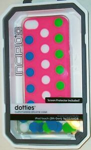 INCIPIO DOTTIES CUSTOMIZABLE PINK SILICONE iPOD TOUCH 5G 5th GEN CASE NEW