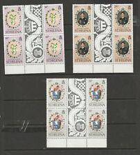 1981 Royal Wedding.3 MUH Blocks of 4 each from St. Helena  See Photos & Values.