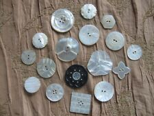 """17 MOTHER OF PEARL MOP BUTTON LOT 3/4"""" TO 1 3/8"""" ACROSS ASSORTED SIZES  INCISED"""