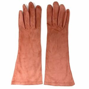 Vtg Yves Saint Laurent Paris Watermelon Pink Kid Suede Long Gloves sz 7 YSL