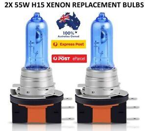 2x H15 HI LO Beam 55W Headlight Bulbs globe Bright White Replacement Halogen