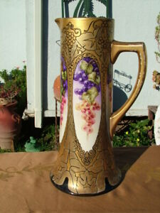 LIMOGES ARTS & CRAFTS HAND PAINTED HANGING GRAPES WITH LADY FACES TANKARD