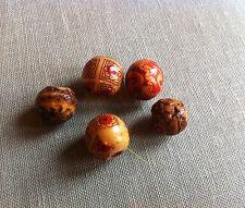 RARE AUTHENTIQUE bois sculpté Mixte Motif Japanese ojime netsuke ancien perles pendentif