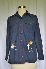 Vintage 70'S Jc Penney Fashions Women'S Beach Theme 100% Cotton Jacket Size 32