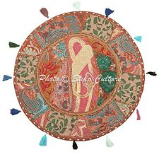 """Boho Round Patchwork Floor Seating Cushion Cover Cotton Embroidered 22"""" Vintage"""