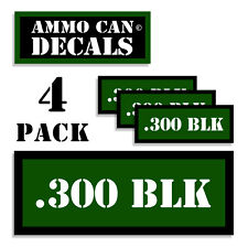 """300 BLK Ammo Can 4x Labels Ammunition Case 3""""x1.15"""" stickers decals 4 pack GR"""