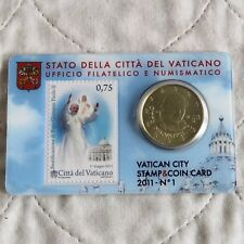 VATICAN CITY 2011 BRILLIANT UNCIRCULATED 50 CENTS - sealed coin & stamp pack 1