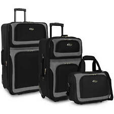US Traveler Black New Yorker 3-Piece Expandable Rolling Luggage Suitcase Bag Set