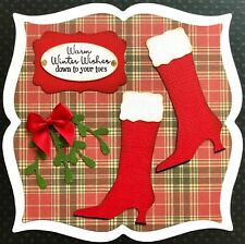 Handmade By Susie Lady's Mrs Santa Boots Christmas Card Topper FLAT RATE UK P&P