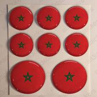 Pegatinas Marruecos Pegatina Bandera Marruecos Redondas 3D Adhesivo Relieve