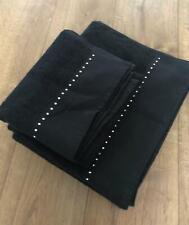 TOWELS  BATH TOWELS x 2  HAND TOWELS 1  BLACK with DIAMANTES New