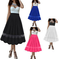 Vintage Women Girl Stretch High Waist Swing Flared Pleated Long Maxi Skirt Dress