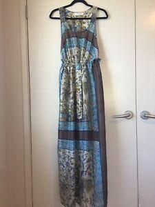 Zimmermann Stunning Silk Blue Paisley Maxi Dress Size 1