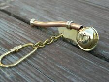 Solid Brass & Copper Bosun Whistle Key Chain Ring Nautical Gift