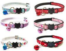 Love Heart Print Cat Collars with Bell | Safe Quick Release / Breakaway Buckle
