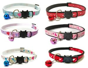 Cat Collar with Bell - Love Heart Print   Pet Collars   Quick Release Buckle