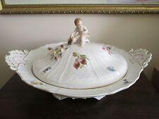 Figural Meissen Porcelain Tureen Covered Bowl Cherub Handpainted Flowers Fruit