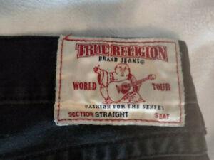 TRUE RELIGION Black Jeans 36 x 34 - Flap Pocket - Straight Leg -
