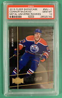 CONNOR MCDAVID PSA 10 2015 FLEER SHOWCASE METAL UNIVERSE ROOKIE ... LOW POP