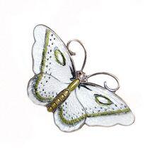 Enamel Butterfly Brooch Hroar Prydz Vintage Sterling Guilloche David Andersen