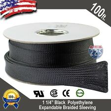 """100 FT. 1 1/4"""" Black Expandable Wire Sleeving Sheathing Braided Loom Tubing 32mm"""