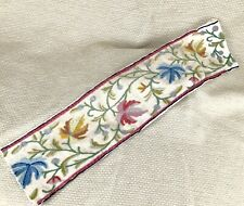 More details for antique crewel work tapestry border panel arts and crafts hand sewn embroidery